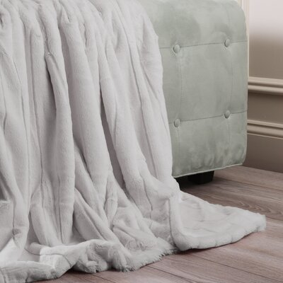Luxe Mink Faux Fur Throw Blanket Color: Grey, Size: 84 x 58