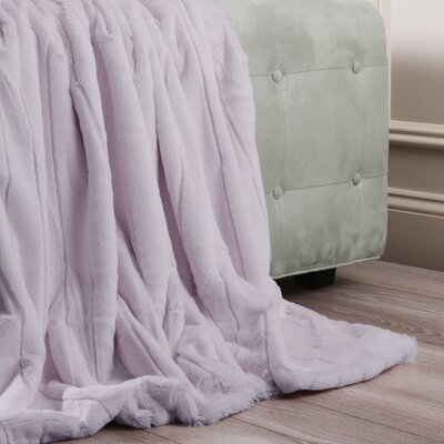 Luxe Mink Faux Fur Throw Blanket Color: Lavender, Size: 60 x 58