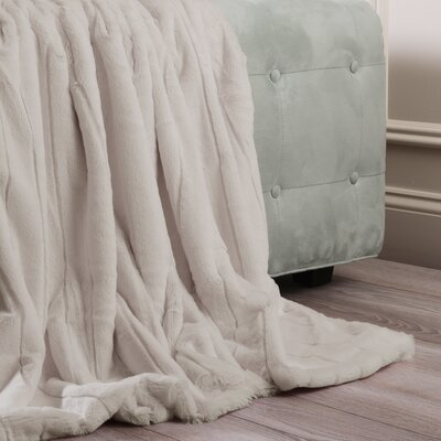 Luxe Mink Faux Fur Throw Blanket Color: Taupe, Size: 60 x 58