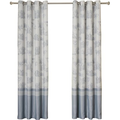 French Toile Thermal Blackout Grommet Curtain Panels Size: 52 W x 96 L