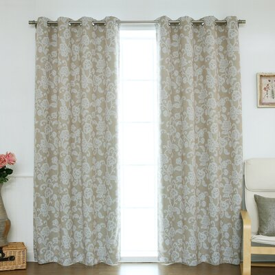 Floral Vine Room Darkening Blackout Thermal Curtain Panels