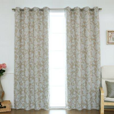 Floral Vine Room Darkening Blackout Thermal Curtain Panels