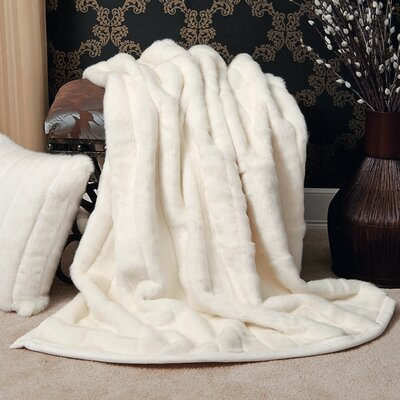 Faux Fur Lounge Throw Blanket Color: White Mink, Size: 60 L x 58 W