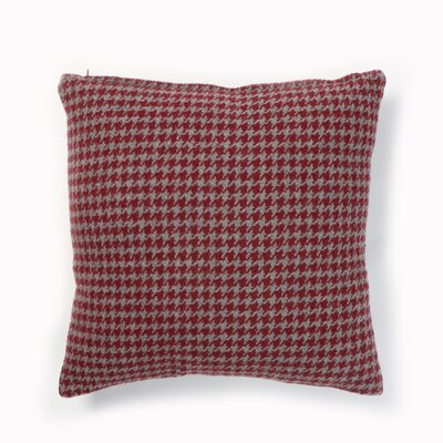 Felted Wool Blend Houndstooth Pillow Cover Color: Burgundy