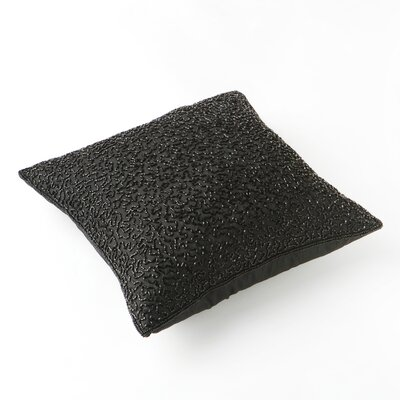 Hand Beaded Decorative Throw Pillow Cover Color: Black