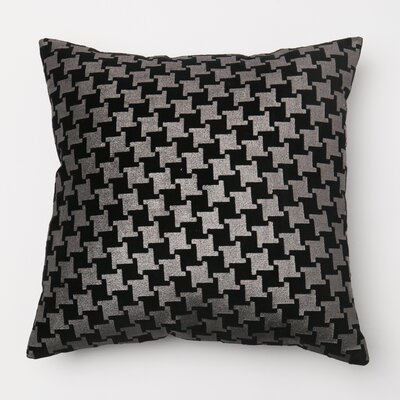Large Houndstooth Metallic Throw Pillow Cover Color: Black