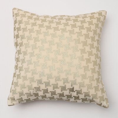Large Houndstooth Metallic Throw Pillow Cover Color: Cream