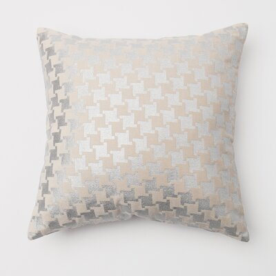 Large Houndstooth Metallic Throw Pillow Cover Color: Silver