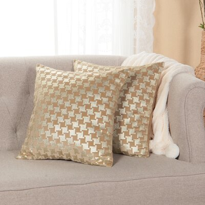 Large Houndstooth Metallic Throw Pillow Cover Color: Tapue