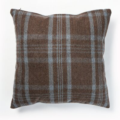 Felted Checkered Wool Blend Plaid Pillow Cover Color: Blue