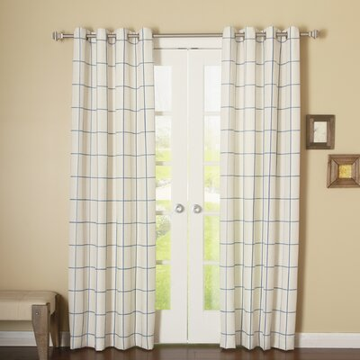 Grid Stitched Linen Blend Grommet Top Curtain Panels