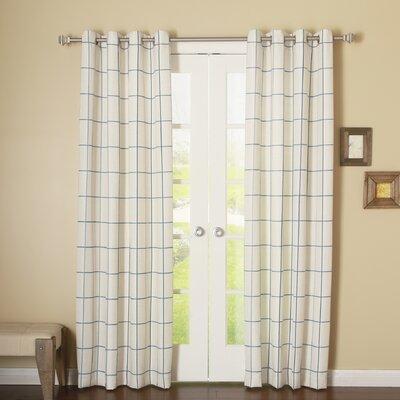 Grid Stitched Linen Blend Grommet Top Curtain Panels