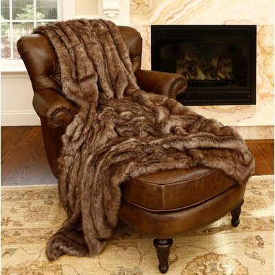 Coyote Faux Fur Throw Size: 60 L x 58 W