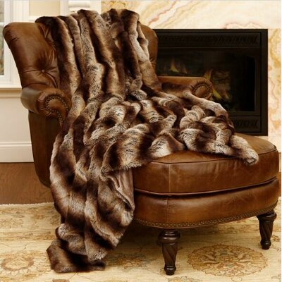 Chinchilla Faux Fur Throw Size: 60 L x 58 W