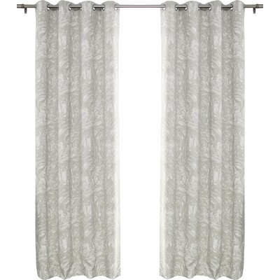 Marble Print Room Darkening Blackout Thermal Curtain Panels Color: Gray