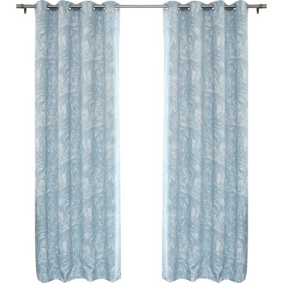 Marble Print Room Darkening Blackout Thermal Curtain Panels Color: Blue/Gray
