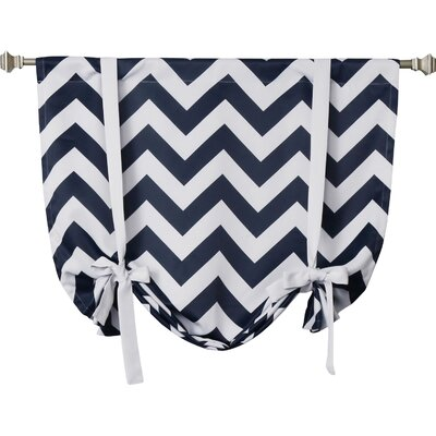 Chevron Print Room Darkening Tie-Up Shade Color: Navy