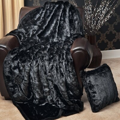 Faux Fur Lounge Throw Blanket Color: Black Mink, Size: 60 L x 58 W