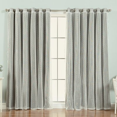 Mix and Match Polka Dots Blackout Thermal Grommet Single Curtain Panel Color: Black