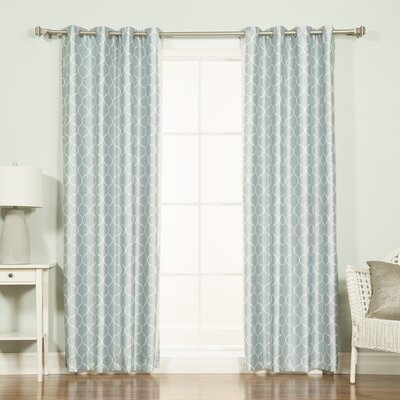 Venetian Quatrefoil Print Blackout Thermal Single Curtain Panel