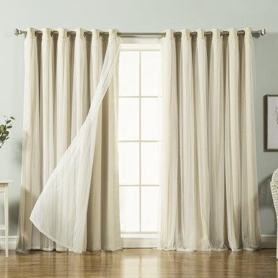 Lace Tulle Overlay Blackout Thermal Single Curtain Panel