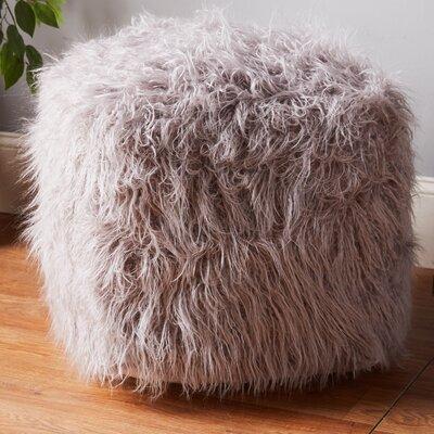 Filmore Mongolian Lamb Pouf Ottoman Upholstery: Grey