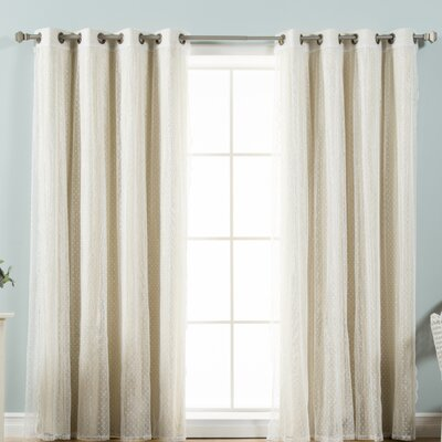 Dotted Tulle Lace and Solid Blackout Thermal Curtain Panels