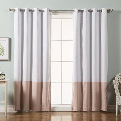 Colorblock Cotton Blend Blackout Curtain Panel