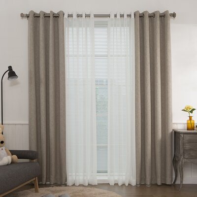 Mix & Match Muji Sheer and Heathered Linen Look Blackout Curtain Panel