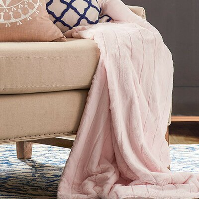 Luxe Mink Faux Fur Throw Blanket Color: Light Pink, Size: 84 x 58