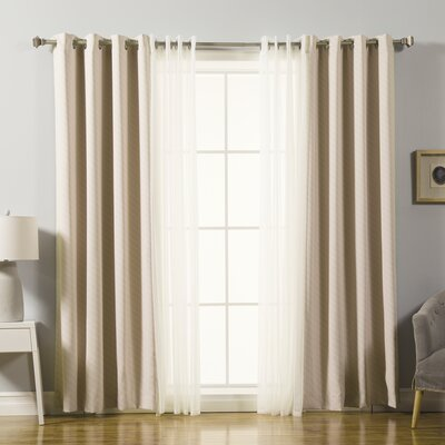 Mix and Match Voile Sheer and Diagonal Stripe Blackout Window Treatment Set