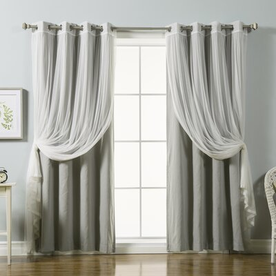 Mix and Match Tulle Lace and Solid Blackout Blackout Window Treatment Set
