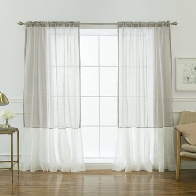 Highland Dunes Margery Solid Sheer Thermal Rod Pocket Curtain Panels Color: Grey