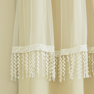 Beese Leaf Fringe Valance Solid Blackout Thermal Curtain Panels DABY5494 39629498