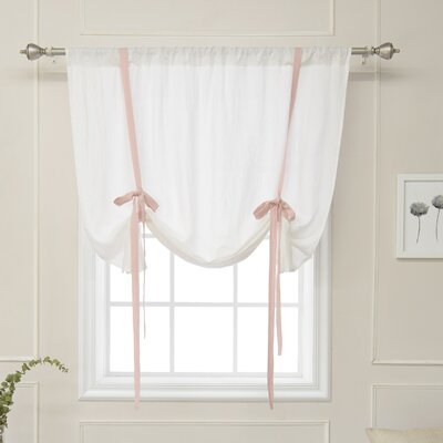 Cieslak Belgian Semi-Sheer Tie-Up Shade Color: Pink