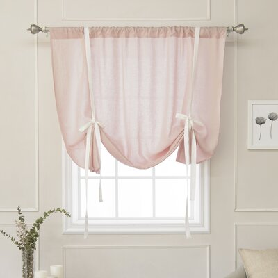 Cieslak Belgian Reverse Semi-Sheer Tie-Up Shade Color: Pink