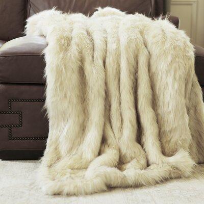 Iced Fox Faux Fur Throw Blanket Size: 58 x 36