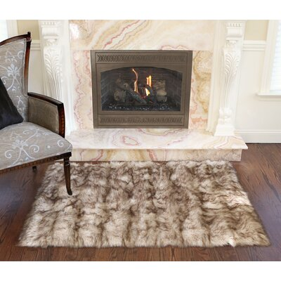 Luxury Long Fur Hand-Woven Area Rug Color: Champagne Fox