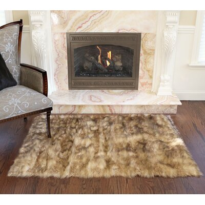 Luxury Long Fur Hand-Woven Area Rug Color: Platinum Frost Fox