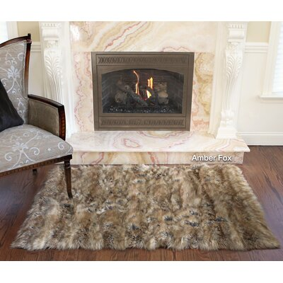 Meiman Luxury Faux Fur Area Rug Color: Amber Fox