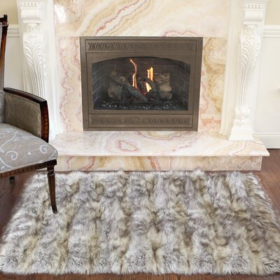Meiman Luxury Long Fur Hand-Woven Area Rug Color: Kitt Fox