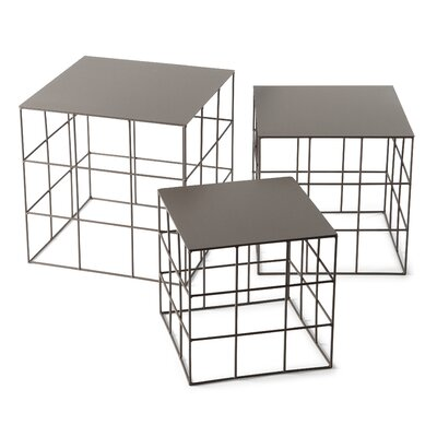 Reton 3 Piece Coffee Table Set Finish: Beige Gray