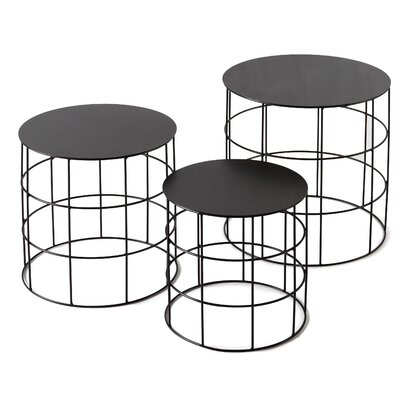 Reton 3 Piece Coffee Table Set Finish: Jet Black