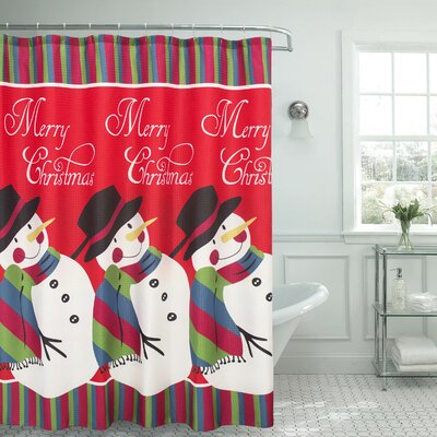 Snowman Surprise Textured Shower Curtain