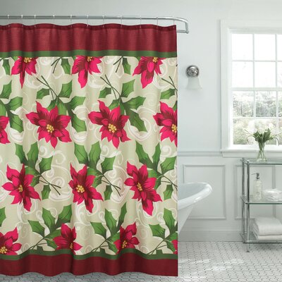 Poinsettia Textured Shower Curtain