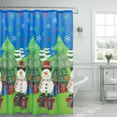 Tree and Snowman Shower Curtain