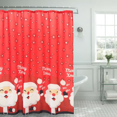 Santa Border Christmas Shower Curtain