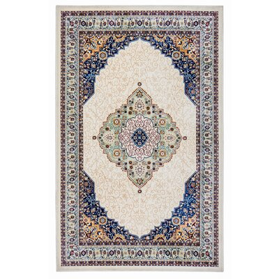 Rowes Medallion Cream/Blue Area Rug Rug Size: 5 x 7