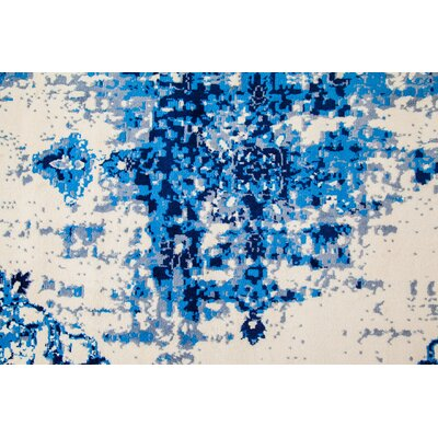 Loch Lomond Overdyed Distressed Blue/Cream Area Rug Rug Size: Rectangle 5' x 7'