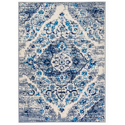 Three Lakes Distressed Floral Motif Blue/Gray Area Rug Rug Size: Runner 26 x 8